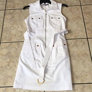 Barely worn White dress with gold buttons